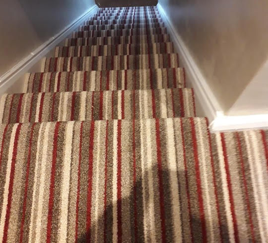 This stripe carpet we fitted today in Plymstock, Plymouth. Making sure the pattern lines up with the landing is the technical part here. Stripe carpet does cause many carpet fitters problems. However with due care and attention the end result is stunning.