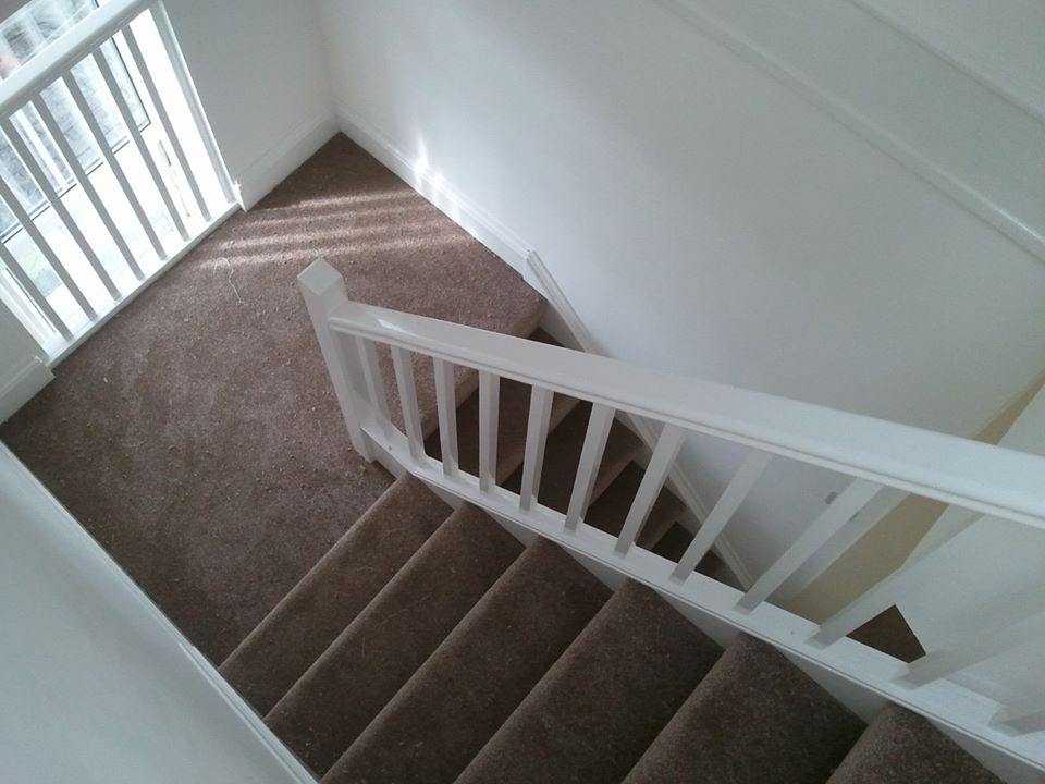 Another staircase carpet fitted in Torpoint with deep pile carpet.