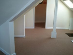 An attic we carpeted in Callington. Tricky one! Why not give us a call for those complex areas.